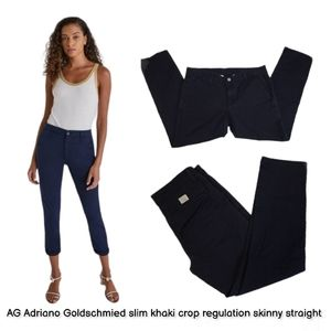 AG Adriano Goldschmied khaki straight cropped pant